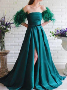 A-line Popular Feather Long Prom Dresses, High Slit 2020 Long Prom Dresses