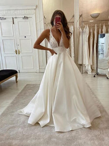 V-neck Simple Lace Wedding Dresses, A-line Newest Wedding Dresses