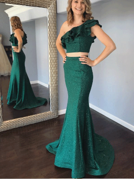 Two Pieces Mermaid Long Prom Dresses, One Shoulder Fancy 2020 Long Prom Dresses