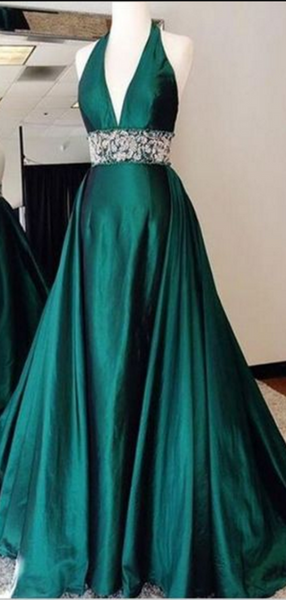 Halter Long Prom Dresses, A-line Prom Dresses, Lace 2020 Prom Dresses