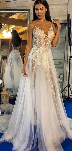 V-neck Elegant Lace Wedding Dresses, Newest See Through Lace A-line Wedding Dresses