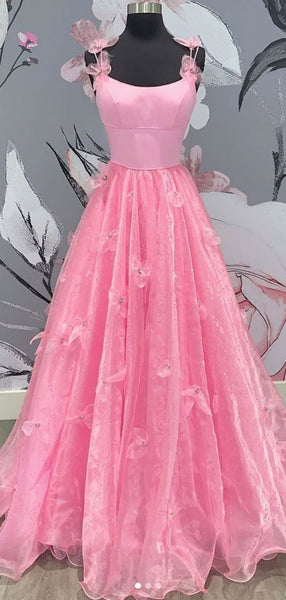 Stylish Pink Color Appliques Long Prom Dresses, A-line 2020 Newest Prom Dresses