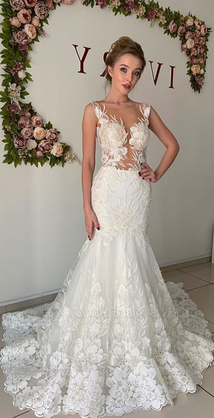New Arrival Quality Mermaid Wedding Dresses, Elegant Lace Popular Wedding Dresses
