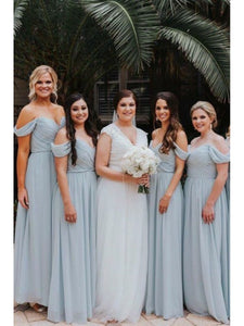 Simple A-line Light Blue Chiffon Bridesmaid Dresses, A-line Bridesmaid Dresses, Popular Bridesmaid Dresses