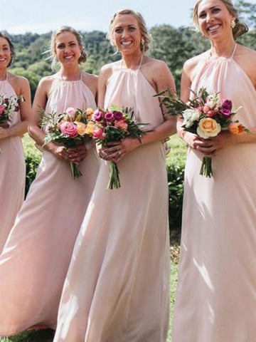 Halter Blush Pink Chiffon Bridesmaid Dresses, Simple Popular Bridesmaid Dresses