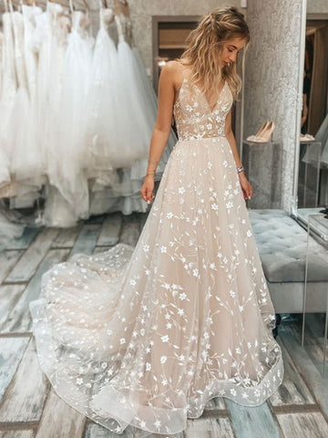 V Neck 2021 Lace Wedding Dresses, A Line Popular Wedding Dresses, Elegant Bridal Gowns