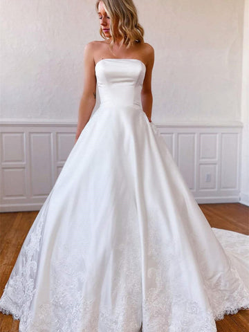 Strapless Ivory Satin Lace Wedding Dresses, Vintage Long Bridal Gown, 2021 Wedding Dresses