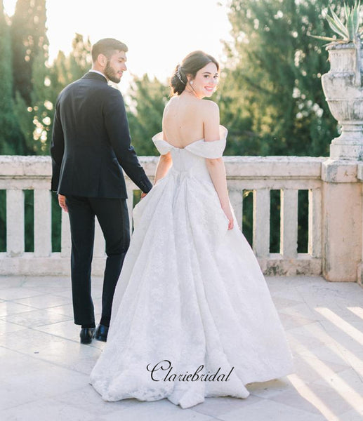 Off Shoulder A-line Wedding Dresses, Lace Fancy Bridal Gowns, Wedding Dresses