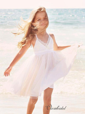 Simple Lace Beach Wedding Flower Girl Dresses