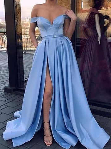Off The Shoulder Slit Prom Dresses, Cheap Sexy Satin Long Prom Dresses