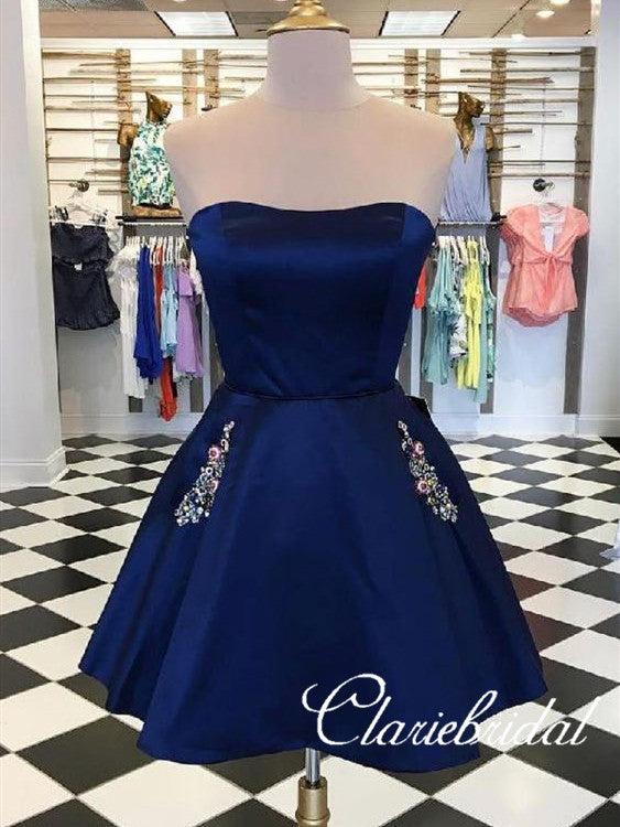 Strapless Navy Satin Short Prom Dresses WIth Pocket, Homecoming Dresses