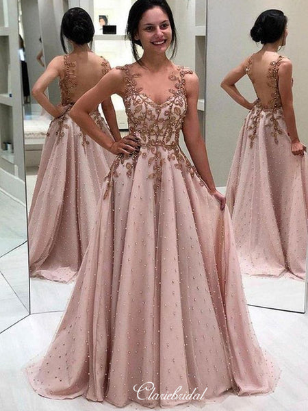 Luxury Beaded Long Prom Dresses, Lace A-line Popular Prom Dresses