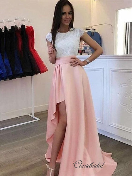Cap Sleeves Lace Top Prom Dresses, High Slit Long Prom Dresses