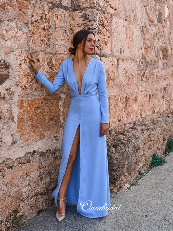 Long Sleeves Deep V-neck Sexy Prom Dresses, Simple 2020 Fashion Long Prom Dresses