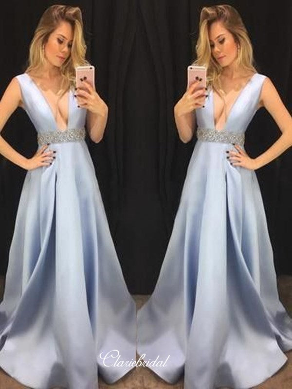 Sexy Deep V-neck Prom Dresses Long, A-line Beaded 2020 Newest Prom Dresses