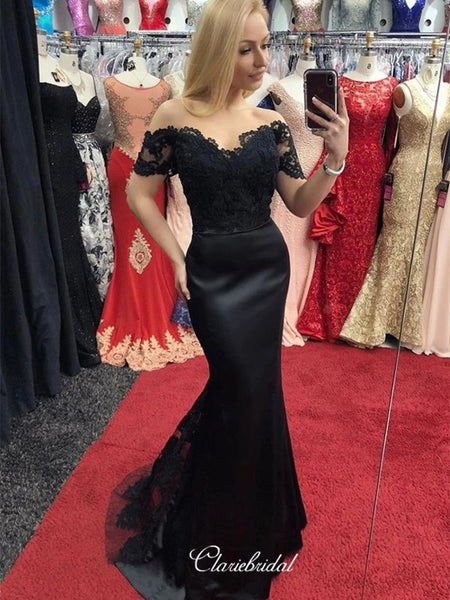 Off Shoulder Mermaid Long Prom Dresses, Black Lace 2020 Long Prom Dresses