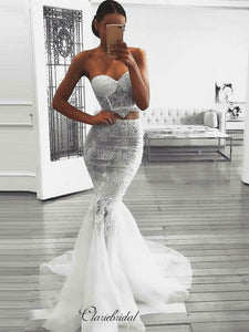 Two Pieces Lace Wedding Dresses, Sexy Strapless Wedding Dresses