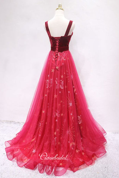 Two Pieces Long Prom Dresses, A-line Popular Prom Dresses