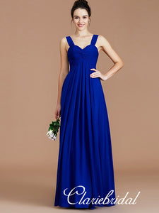 Straps A-line Royal Blue Chiffon Long Bridesmaid Dresses