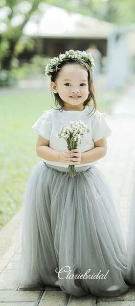 Two Pieces Tulle Flower Girl Dresses, Wedding Little Girl Dresses