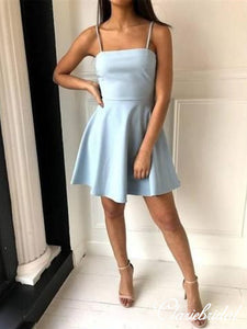 Simple Spaghetti Blue Short Prom Dresses, Homecoming Dresses