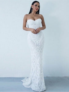 Sweetheart Mermaid Long Prom Dresses, Newest Lace Strapless Prom Dresses