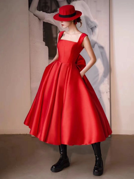 Red Color A-line Wedding Dresses, Simple Newest Bridal Gowns