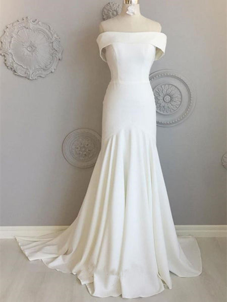 Simple Off The Shoulder Wedding Dresses, Custom Design Wedding Dresses