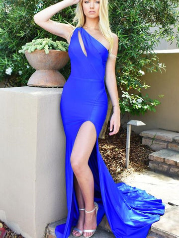 Mermaid Royal Blue 2020 Newest Prom Dresses, One Shoulder Long Prom Dresses