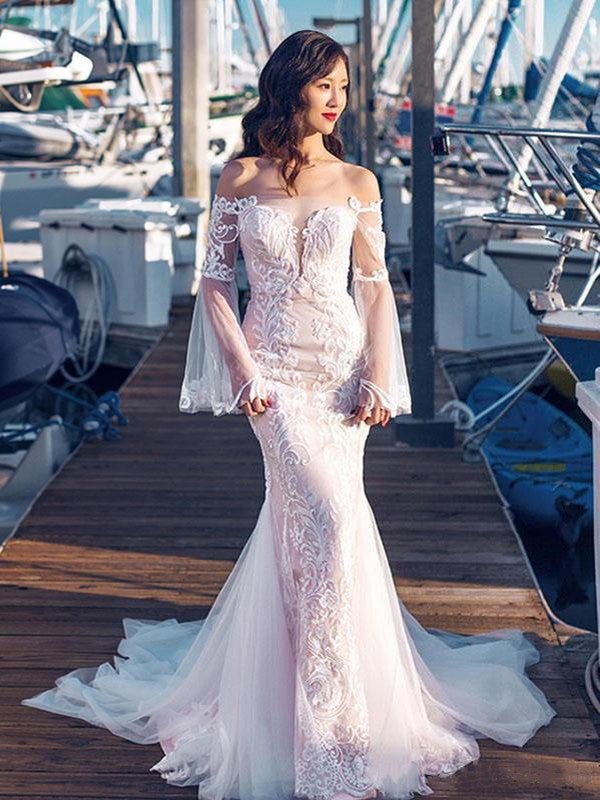 Off Shoulder Long Sleeves Bridal Gowns, Popular Mermaid Lace Wedding Dresses