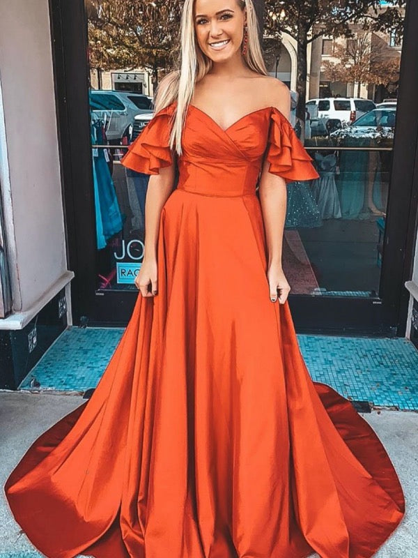 Off The Shoulder 2020 Newest Long Prom Dresses, A-line Evening Party Prom Dresses