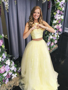 Newest Two Pieces Lace Prom Dresses, Tulle Prom Dresses, 2020 Long Prom Dresses