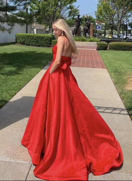 Red Color New Prom Dresses Long, Spaghetti Straps A-line Prom Dresses, 2020 Prom Dresses