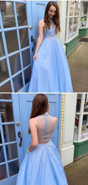 Modest Light Blue Shiny Long Prom Dresses, A-line Evening Party 2020 Prom Dresses