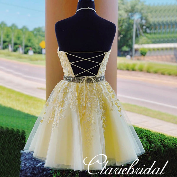 Lovely Yellow Lace Beaded Short Prom Dresses, Popular Homecoming Dresses