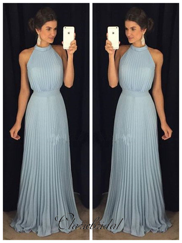 Simple Custom Design Prom Dresses, Halter Cheap Long Prom Dresses