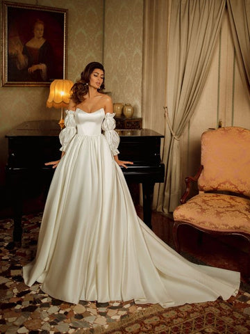 Sweetheart Satin Wedding Dresses With Separately Bubble Sleeves, Elegant Long Wedding Dresses, Popular 2021 Wedding Dresses
