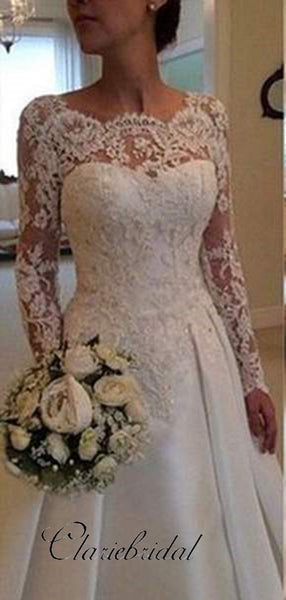 Long Sleeves Lace Wedding Dresses, A-line Satin Wedding Dresses