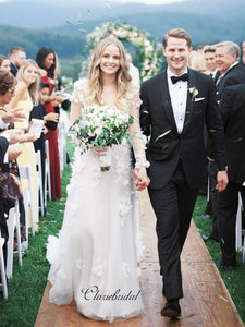 Long Sleeves A-line Wedding Dresses, Graceful Appliques Fashion Wedding Dresses