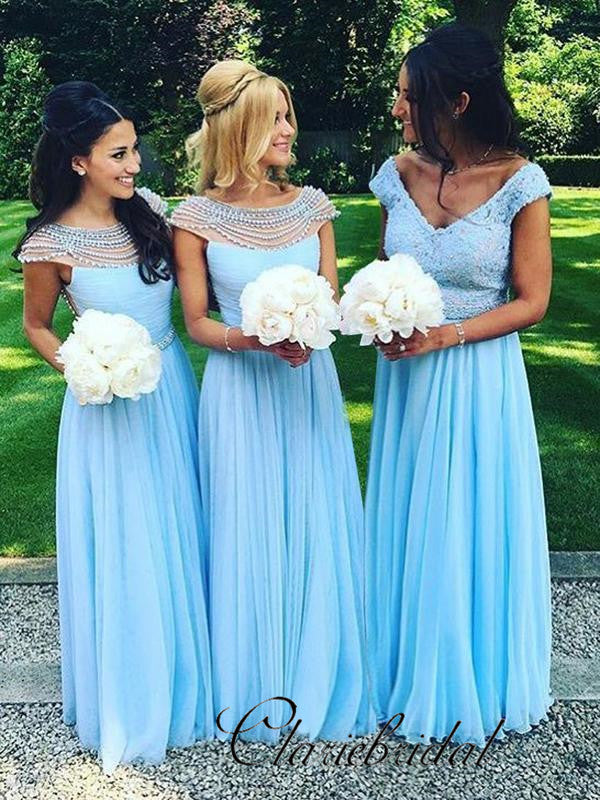 A-line Chiffon Pearls Bridesmaid Dresses, Wedding Guest Dresses