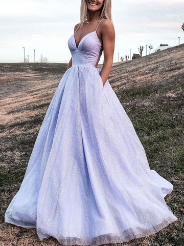 Spaghetti Straps A Line Newest Prom Dresses, Shiny Long Prom Dresses, Girl Graduation Party Dresses