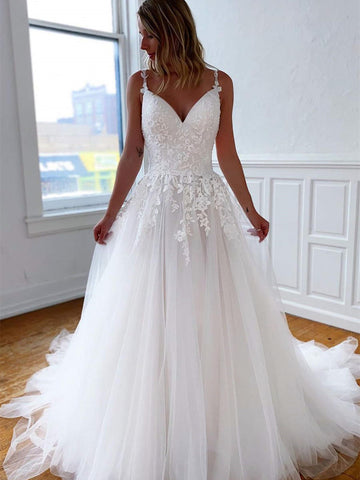 Spaghetti Lace Tulle A-line Wedding Dresses, Ivory Popular Bridal Gown, Wedding Dresses