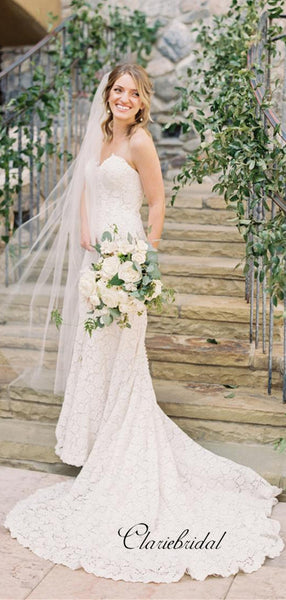 Sweetheart Strapless Wedding Dresses, Lace Mermaid Wedding Dresses
