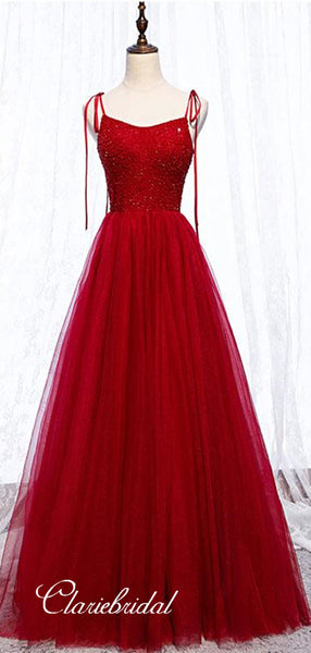 Red Color Tulle Prom Dresses, Beaded A-line Prom Dresses, Popular Newest Prom Dresses