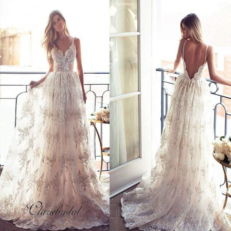 Spaghetti V-back Sexy Lace Bridal Gown, A-line Long Wedding Dresses