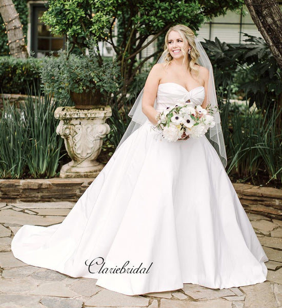 Strapless A-line Wedding Dresses, Sweetheart Satin Wedding Dresses
