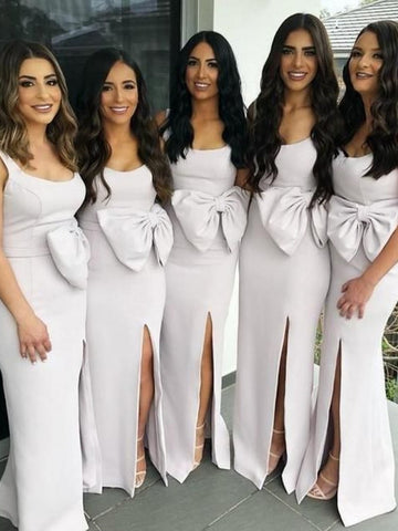 Long Sheath Side Slit Bridesmaid Dresses, Newest Bridesmaid Dresses With Bow, Long Bridesmaid Dresses