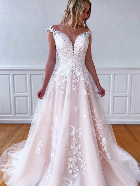 Off The Shoulder Blush Pink Lace Tulle Wedding Dresses, Long Bridal Gown, 2021 Wedding Dresses