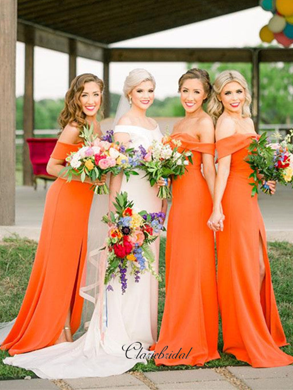 Orange Off The Shoulder Bridesmaid Dresses, Slit Bridesmaid Dresses