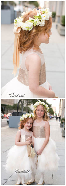 Fluffy Flower Girl Dresses, Sequins Little Girl Wedding Dresses